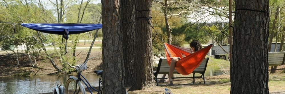 Student relaxing in a hammock on campus