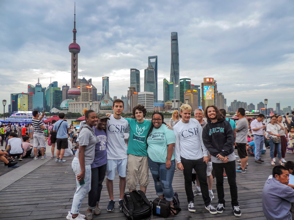 George Schell with students in China