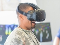Student trying virtual reality at WITX 2018